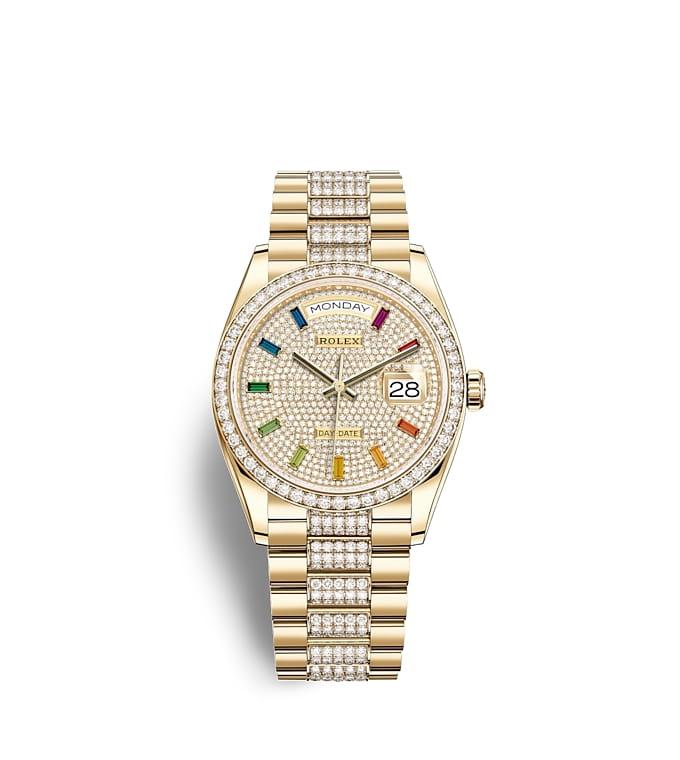 ロレックス デイデイト 36:オイスター、36 mm、イエローゴールド、ダイヤモンド