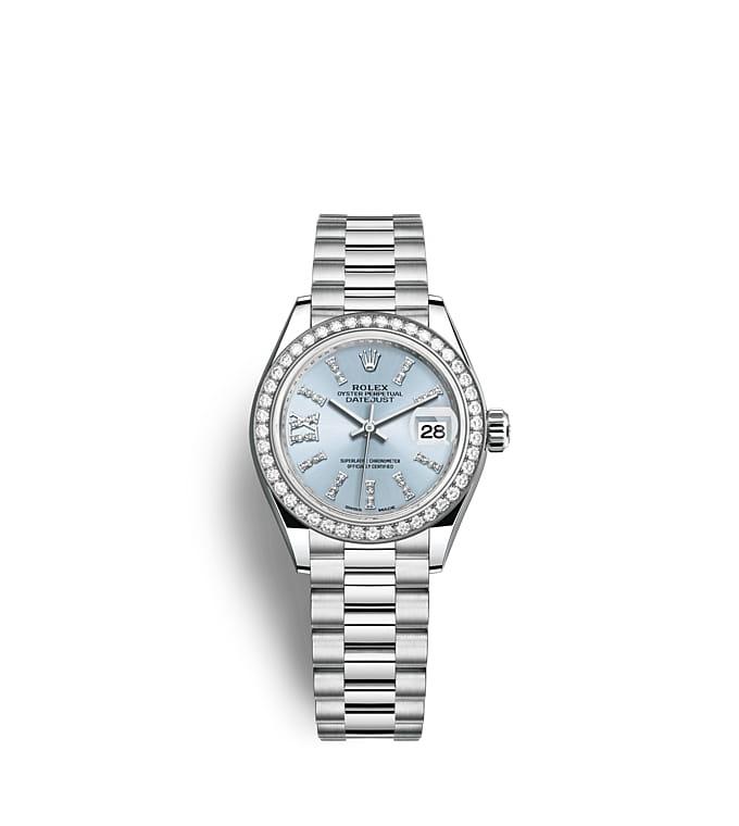 ロレックス レディ デイトジャスト:オイスター、28 mm、プラチナ、ダイヤモンド