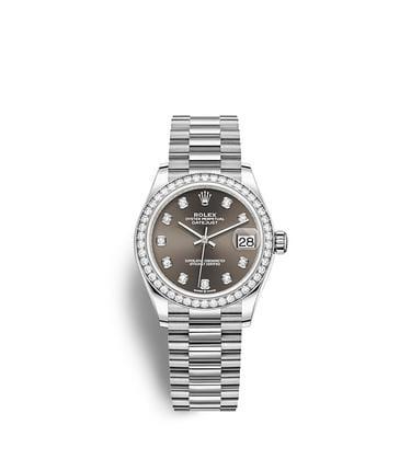 ロレックス デイトジャスト 31:オイスター、31 mm、ホワイトゴールド、ダイヤモンド