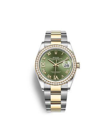 ロレックス デイトジャスト 36:オイスター、36 mm、オイスタースチール&イエローゴールド、ダイヤモンド